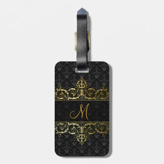 Black & Gold Floral Damask And Frame Monogram Bag Tag