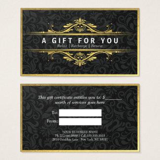 Black & Gold Floral Damask Linen Gift Certificate