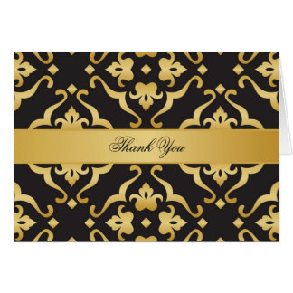 Black & Gold Floral Damask Thank You Card