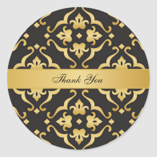 Black & Gold Floral Damask Wedding Thank You Classic Round Sticker