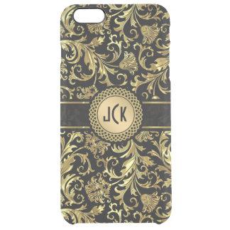 Black & Gold Floral Damasks 5 Clear iPhone 6 Plus Case