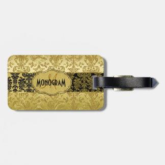 Black & Gold Floral Damasks Customized Bag Tag