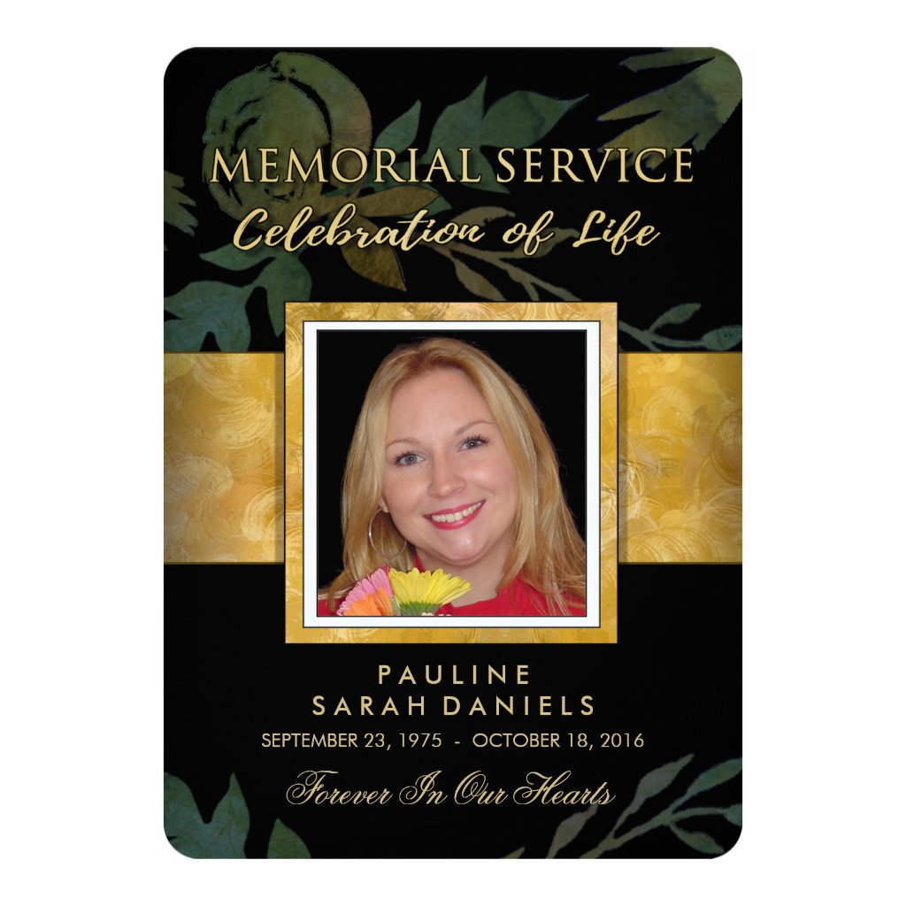 Black Gold Floral Elegant Memorial Service Invite