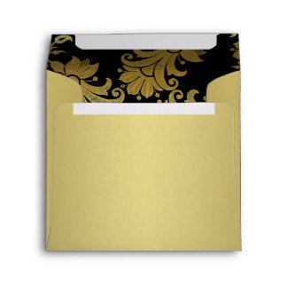 Black, Gold Floral Envelope for Square Invitation