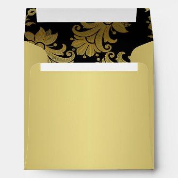 Black, Gold Floral Envelope for Square Invitation