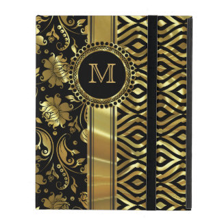 Black & Gold Floral & Geometric Damasks Monogram 2 iPad Cases