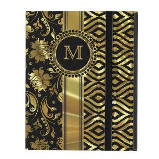 Black & Gold Floral & Geometric Damasks Monogram 2 iPad Cover