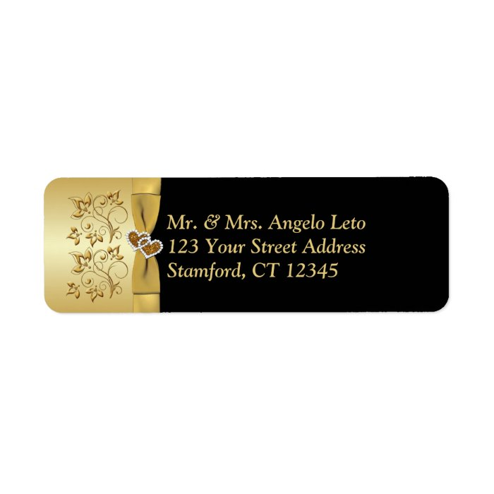 Black, Gold Floral, Hearts Return Address Label