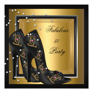 Black Gold Floral High Heels Womans Birthday Party Card