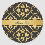 Black & Gold Floral Lily Pattern Wedding Thank You Classic Round Sticker