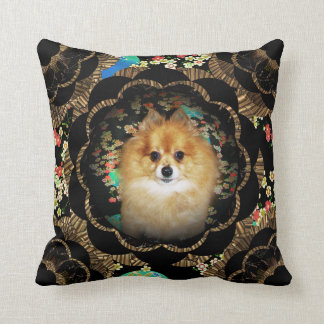 Black Gold Floral Mandala Design + Pomeranian Dog Pillow