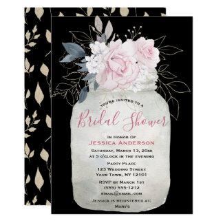 Black Gold Floral Mason Jar Bridal Shower Invitation