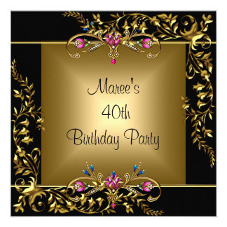 Black Gold Floral Pink 40th Birthday Party Custom Invites