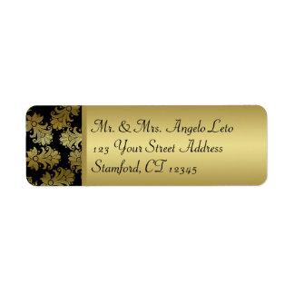 Black, Gold Floral Return Address Label