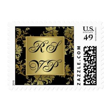 Black, Gold Floral RSVP Postage