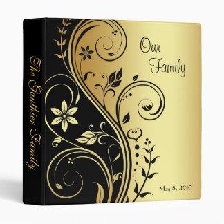 Black & Gold Floral Scroll Family Album Binder