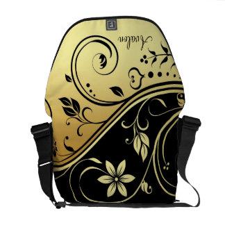 Black & Gold Floral Scroll Messenger Bag