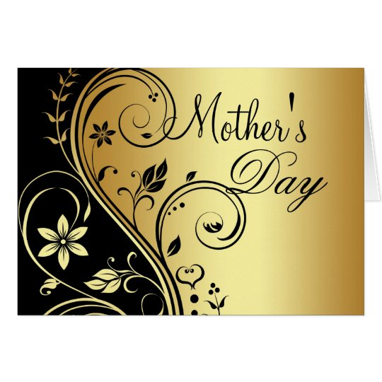 Black & Gold Floral Scroll Mothers Day Card