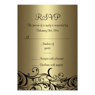 Black/Gold Floral Swirl Sweet16 RSVP Card