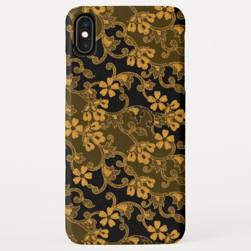 Black & Gold Floral Tapestry Pattern iPhone XS Max Case