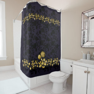 Black Purple Gold Shower Curtains Zazzle