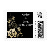 black & gold floral wedding stamps