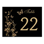 Black, Gold Floral with Butterflies Table Number Postcard