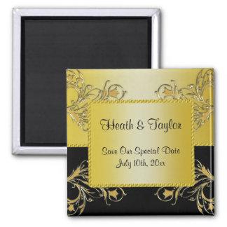 Black & Gold Flowering Vines Monogram Wedding 2 Inch Square Magnet