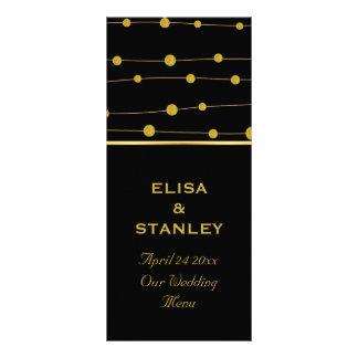 Black, gold foil beads modern wedding menu card rack card
