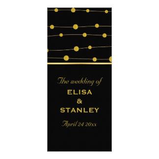 Black, gold foil beads modern wedding program full color rack card