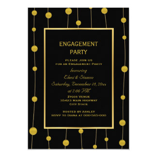 Black, gold foil beads wedding engagement party card