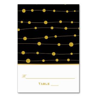 Black, gold foil beads wedding escort place card
