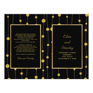"Black, gold foil beads wedding folded program 8.5"" x 11"" flyer"