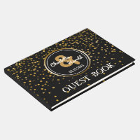 Black Gold Foil Confetti | Chic Monogram Wedding Guest Book