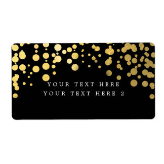 Black & Gold Foil Confetti Modern Package Label