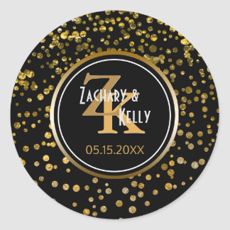 Black Gold Foil Confetti | Monogram Wedding Favor Classic Round Sticker