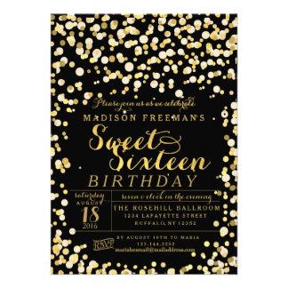 Black Gold Foil Confetti Sweet 16 Party Invite