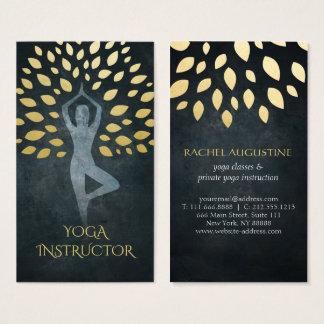 Black & Gold Foil Leaves with Yoga Meditation Pose Business Card