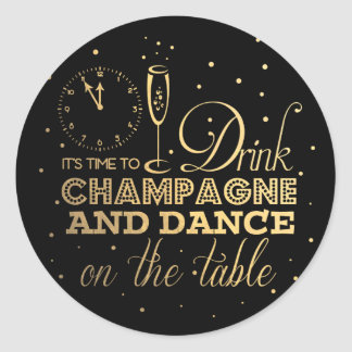 Black/Gold Foil New Year's Eve Classic Round Sticker