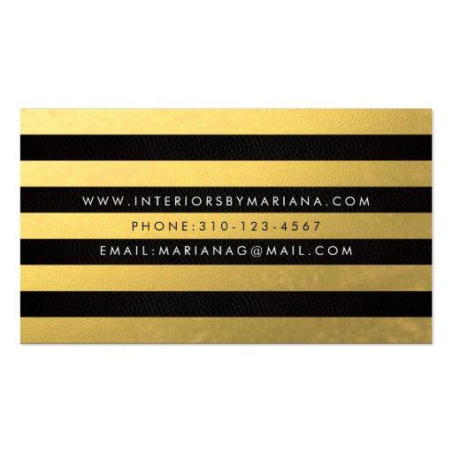Black Gold Foil Stripe Business Card (back side)
