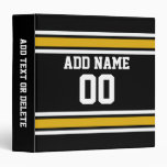 Black Gold Football Jersey Custom Name Number 3 Ring Binders