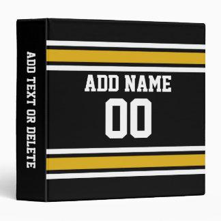 Black Gold Football Jersey Custom Name Number 3 Ring Binders