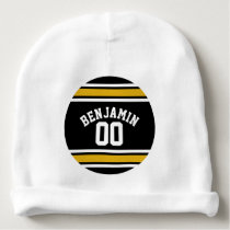 Black Gold Football Jersey Custom Name Number Baby Beanie