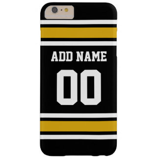 Black Gold Football Jersey Custom Name Number Barely There iPhone 6 Plus Case