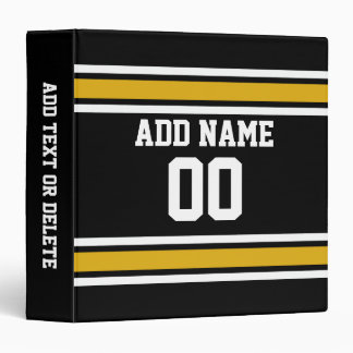 Black Gold Football Jersey Custom Name Number Binder