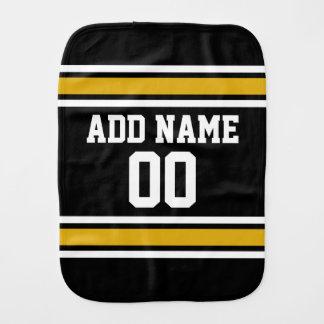 Black Gold Football Jersey Custom Name Number Burp Cloth