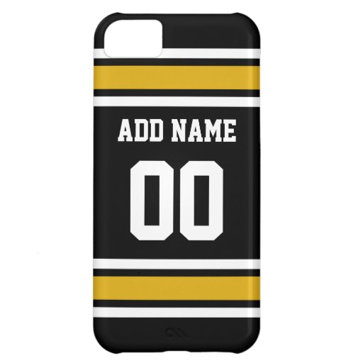 Black Gold Football Jersey Custom Name Number iPhone 5C Cases