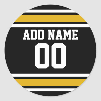 Black Gold Football Jersey Custom Name Number Classic Round Sticker