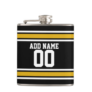 Black Gold Football Jersey Custom Name Number Flask
