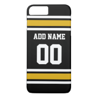 Black Gold Football Jersey Custom Name Number iPhone 7 Plus Case